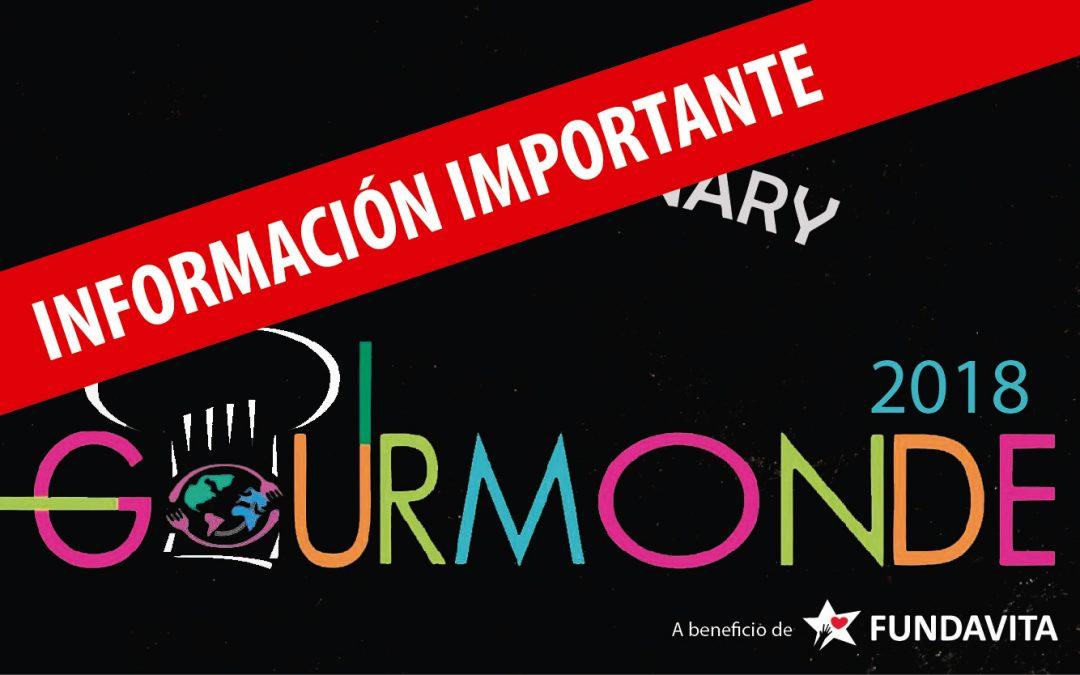«GOURMONDE» 2018 – Información Importante